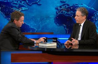 Tim Geithner and Jon Stewart SquareOff….