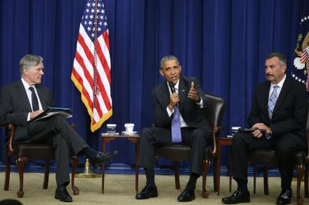 WASHINGTON, DC - OCTOBER 22:  U.S. President Barack Obama participates in a conversation on criminal justice reform while flanked by Bill Keller (L) of The Marshall Project, and Charlie Beck (R) of the Los Angleles Police, at the White House October 22, 2015 in Washington, DC. Later this month theÊSenate Judiciary Committee plans to vote on the Smarter Sentencing Act, which hopes to reform mandatory-minimum sentencing and the federal prison system.  (Photo by Mark Wilson/Getty Images)